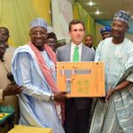 The Executive Vice Chairman/ Chief Executive of NASENI, Engr. Prof. M. S.Haruna, Chief Executive Officer, De Lorenzo SPA, Dr.Matteo Prosperi and the Executive Governor of Nasarawa State, Engr.Abdullahi Sule during the handing over of engineering equipment donated to the University by the Italian firm, facilitated by NASENI